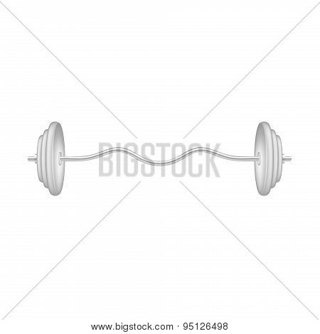 Barbell in silver and white design