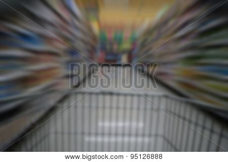 Blurred Shopping In Supermarket