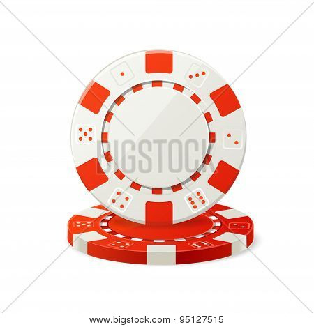 Vector Gambling Red and White Poker Chips
