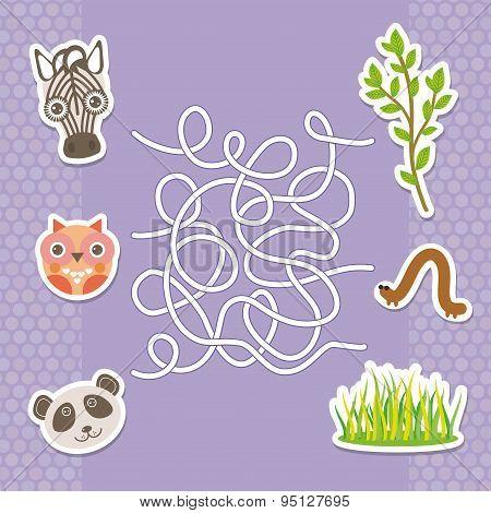 Zebra Panda Owl  Labyrinth Game For Preschool Children. Vector
