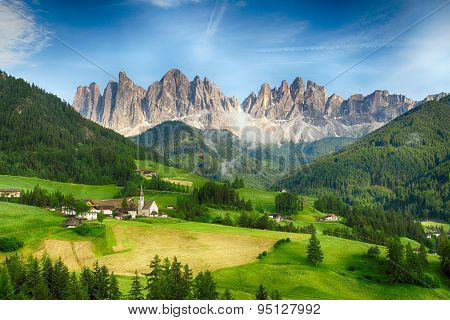 Countryside View Of  Santa Maddalena In National Park Puez Odle Or Geisler Summits. Dolomites, South