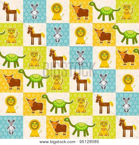 Set Of Funny Animals Mouse Lion Cow Dinosaur Tiger Horse Seamless Pattern. Polka Dot Background With