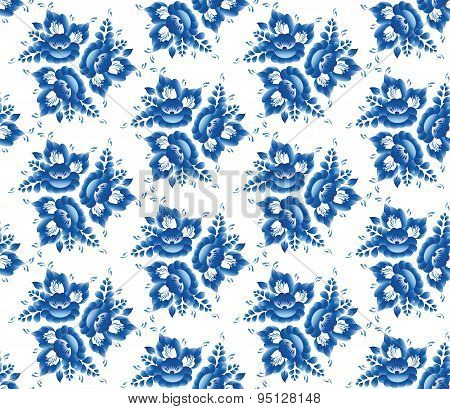 Vintage Shabby Chic Seamless Pattern With Blue Flowers And Leaves. Vector
