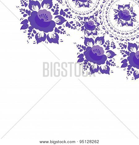 Vintage Shabby Chic Greeting Card With Flowers And Leaves Purple Flowers On White Background. Vector
