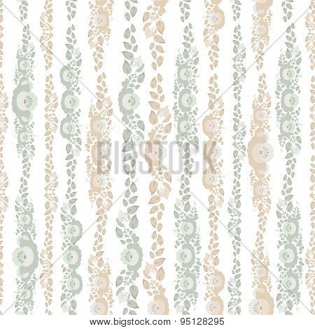 Vintage Shabby Chic Seamless Pattern With Flowers And Leaves Beige Blue On White Background . Vector