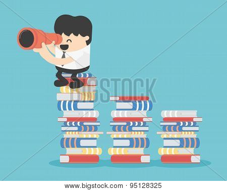 Business Concept Cartoon Illustration Stands On Book