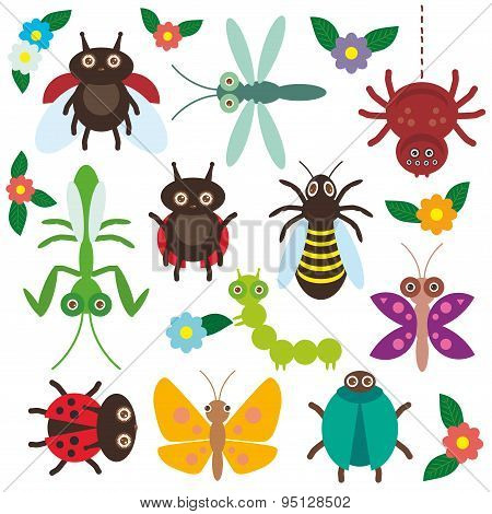 Funny Insects Set Spider Butterfly Caterpillar Dragonfly Mantis Beetle Wasp Ladybugs On White Backgr