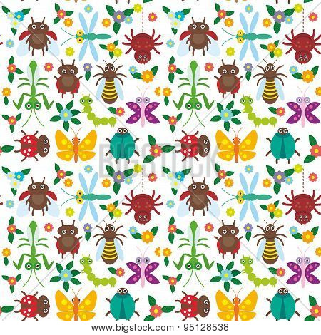Funny Insects Spider Butterfly Caterpillar Dragonfly Mantis Beetle Wasp Ladybugs Seamless Pattern On