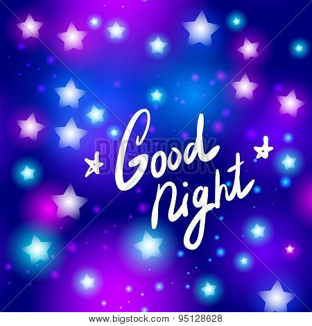 Good Night Letter Abstract Neon Star On Blue Background. Vector