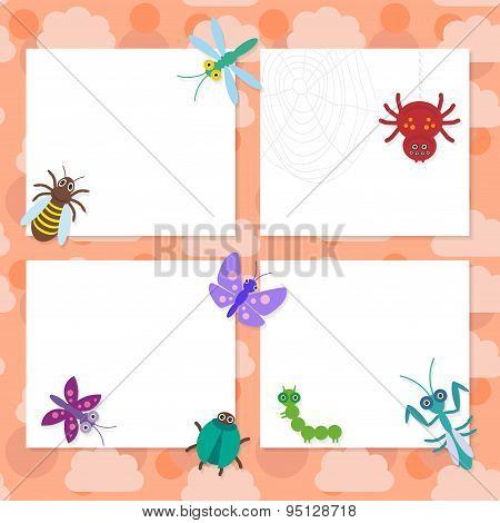 Funny Insects Set Spider Butterfly Caterpillar Dragonfly Mantis Beetle Wasp Ladybugs Card Design On