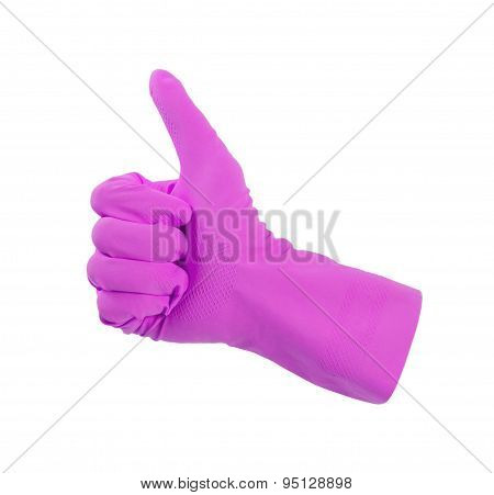 Purple Glove For Cleaning Show Thumbs Up