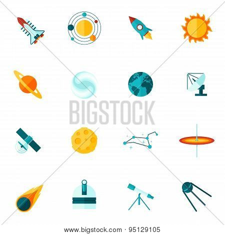 Space Universe Flat Icon Set