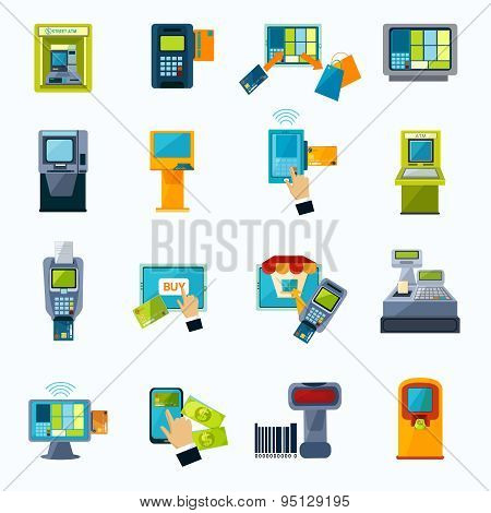 atm payment flat icons set
