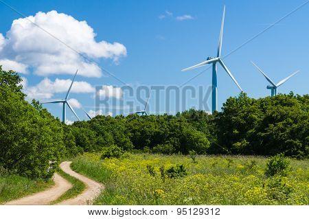 Curvy Rural Road To Wind Generators Area