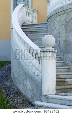 Outdoor Old Style Spiral Stairs With Column And Ornate Railing