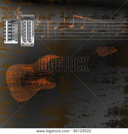 Guitar Strings On A Rusty Metal Background And Notes