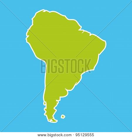 South America Map Blue Ocean And Green Continent. Vector