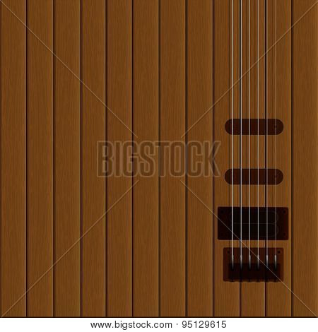 Guitar Strings On The Wooden Background