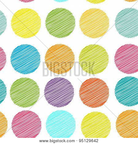 Rainbow Color Polka Dot Background, Seamless Pattern. Embroidery Stitches. Scribble Dot On White Bac