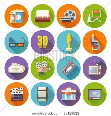 Cinema retro flat round icons set