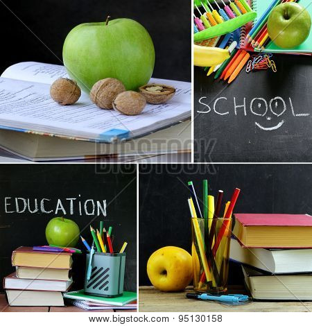 collage school stationery and apple - Back to school concept