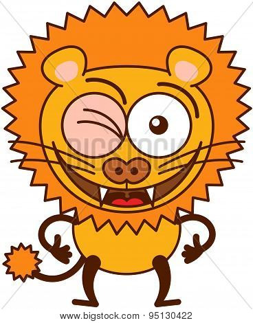 Cute lion winking and making thumbs up