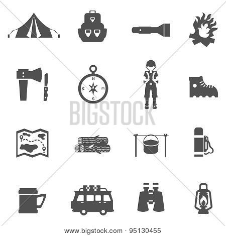 Camping Icons Black