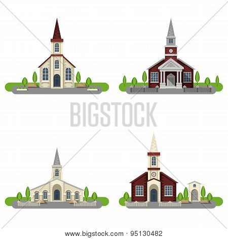 Church Decorative Flat Icon Set