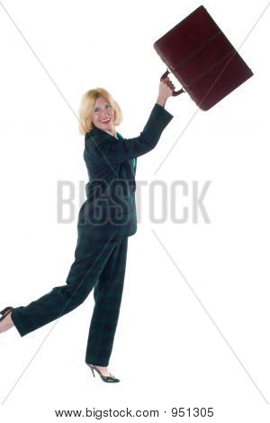 Woman Throwing Briefcase