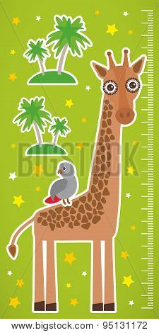 Giraffe Parrot Bird And Palms On Green Background Children Height Meter Wall Sticker. Vector