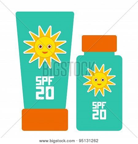 Tube Container Of Sun Cream Sunscreen Spf 20. The Blue Tube On White Background. Summer, Sun Tanning