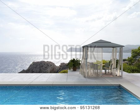 swimming pool, pavilion and the sea