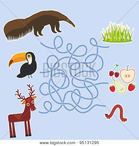 Bird Toucan Anteater And Deer On Blue Background Labyrinth Game For Preschool Children. Vector
