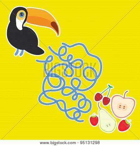 Toucan Bird And The Apple Pear Strawberry Cherry On Yellow Background  Labyrinth Game For Preschool