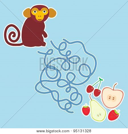 Monkey And Apple Pear Strawberry Cherry Labyrinth Game On Blue Background For Preschool Children. Ve