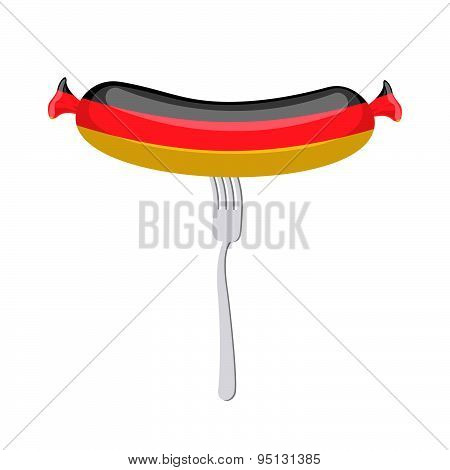 Germany banger. Sausage on a fork. Traditional delicacy in color of  flag. Vector illustration. Ppre