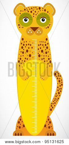 Funny Leopard On White Background Children Height Meter Wall Sticker, Kids Measure. Vector