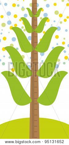 Big Tree With Green Leaves On A White Background Children Height Meter Wall Sticker, Kids Measure. V