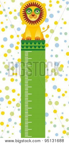 Funny Lion In The Circus On White Background Children Height Meter Wall Sticker, Kids Measure. Vecto