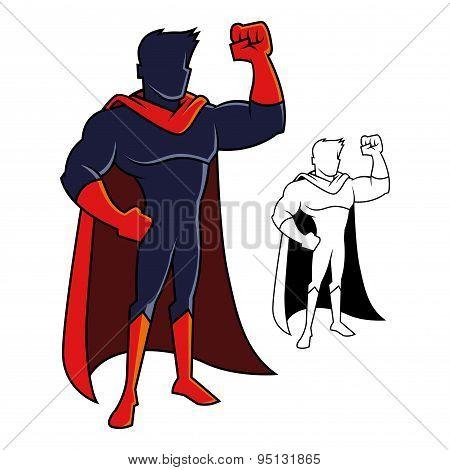 Superhero Character Raising His Arm