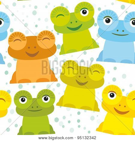 Cute Cartoon Funny Frog Set Yellow Green Blue Orange On White Background, Seamless Pattern. Vector