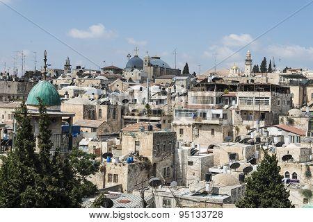 Jerusalem - July 18: Landscape of religions buildings in the old city on July 18, 2015 in Jerusalem,