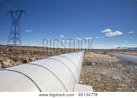 Electric Pole And Pipe In Iceland