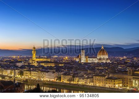View Of Florence In Evening, Italy