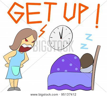 cartoon illustration rage yelling get up