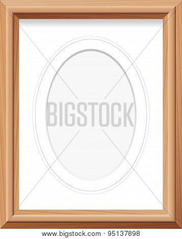 Wooden Frame Oval Mat Photo Picture