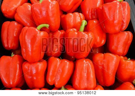 neatly folded red bell peppers