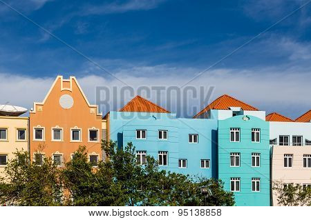 Colorful Facade Of Resorts In Curacao