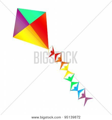 Rainbow Colored Kite With Mini Silhouettes On The String