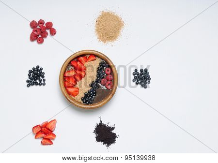 Set Of Healthy Food With Acai Bowl